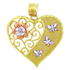Diamond and CZ Butterfly Heart Pendant Necklace in 9ct Three-Tone Gold