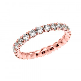 Diamond and CZ Eternity Wedding Ring in 9ct Rose Gold