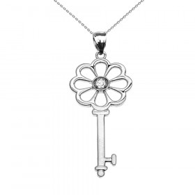 Diamond and CZ Flower Key Pendant Necklace in 9ct White Gold