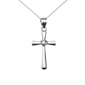Diamond and CZ Heart Cross Pendant Necklace in 9ct White Gold