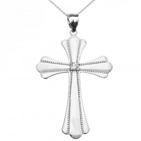 Diamond and CZ Large Milgrain Cross Pendant Necklace in 9ct White Gold
