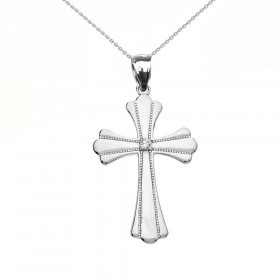 Diamond and CZ Milgrain Cross Pendant Necklace in 9ct White Gold