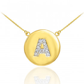Diamond Disc Letter A Pendant Necklace in 9ct Gold