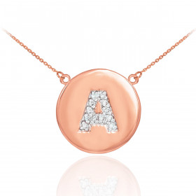 Diamond Disc Letter A Pendant Necklace in 9ct Rose Gold