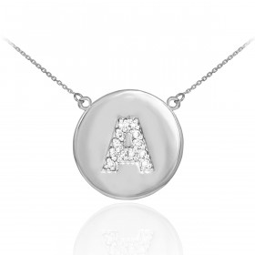 Diamond Disc Letter A Pendant Necklace in 9ct White Gold
