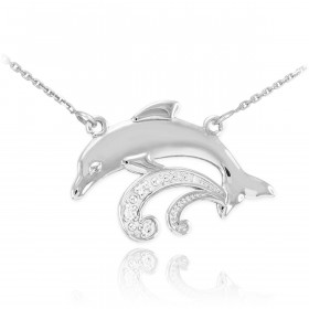 Diamond Dolphin Pendant Necklace in 9ct White Gold