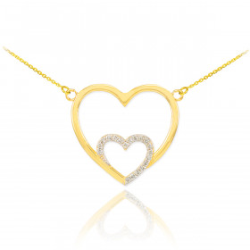 Diamond Double Heart Pendant Necklace in 9ct Gold
