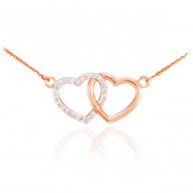 Diamond Double Heart Pendant Necklace in 9ct Rose Gold