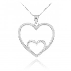 Diamond Double Heart Pendant Necklace in 9ct White Gold
