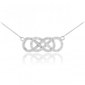 Diamond Double Infinity Pendant Necklace in 9ct White Gold