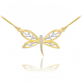 Diamond Dragonfly Filigree Pendant Necklace in 9ct Gold