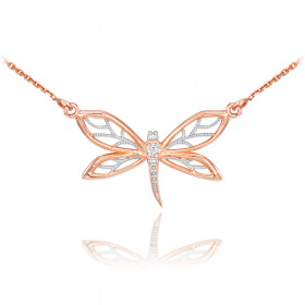 Diamond Dragonfly Filigree Pendant Necklace in 9ct Rose Gold