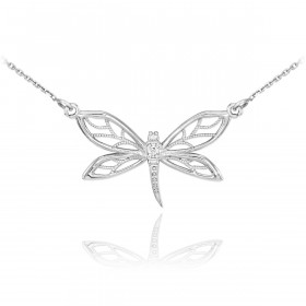 Diamond Dragonfly Filigree Pendant Necklace in 9ct White Gold