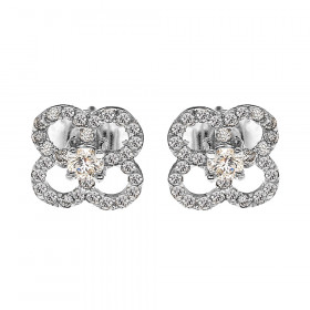 0.05ct Diamond Elegant 4 Leaf Clover Stud Earrings in 9ct White Gold