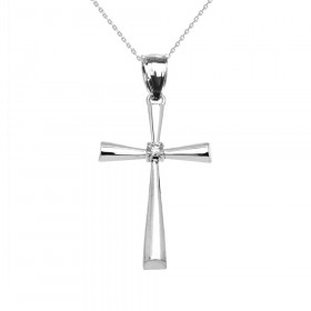 0.04ct Diamond Elegant Cross Pendant Necklace in Sterling Silver