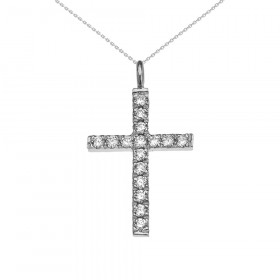 0.25ct Diamond Elegant Cross Pendant Necklace in 9ct White Gold