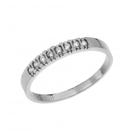 0.05ct Diamond Elegant Half Eternity Wedding Ring in 9ct White Gold