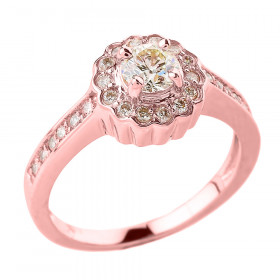 0.44ct Diamond Elegant Halo Vintage Engagement Ring in 9ct Rose Gold