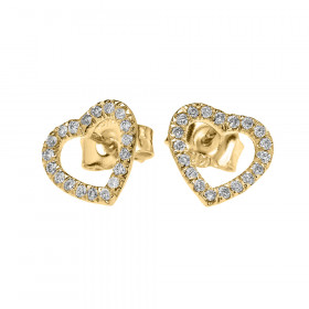 0.15ct Diamond Elegant Open Heart Stud Earrings in 9ct Gold
