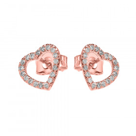 0.15ct Diamond Elegant Open Heart Stud Earrings in 9ct Rose Gold