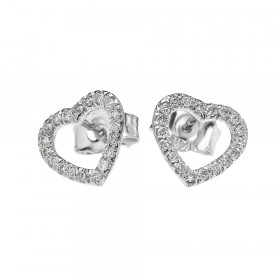 0.15ct Diamond Elegant Open Heart Stud Earrings in 9ct White Gold