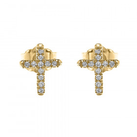 0.08ct Diamond Elegant Stud Cross Earrings in 9ct Gold
