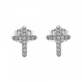 0.08ct Diamond Elegant Stud Cross Earrings in 9ct White Gold