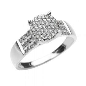 Diamond Elegant Three Row Micro-Pave Diamond Band in 9ct White Gold