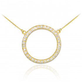 Diamond Eternity Circle of Life Pendant Necklace in 9ct Gold