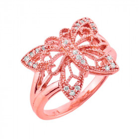 Diamond Filigree Butterfly Ring in 9ct Rose Gold