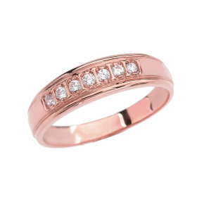 0.12ct Diamond For Rose Half Eternity Wedding Ring in 9ct Rose Gold
