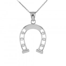 Diamond Good Luck Horseshoe Pendant Necklace in 9ct White Gold