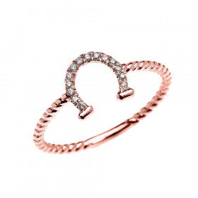 0.06ct Diamond Good Luck Horseshoe Rope Design Twisted Rope Ring in 9ct Rose Gold