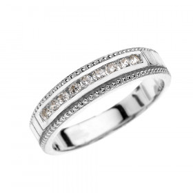 0.17ct Diamond Half Eternity Wedding Ring in 9ct White Gold
