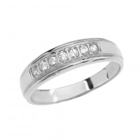 0.12ct Diamond Half Eternity Wedding Ring in 9ct White Gold