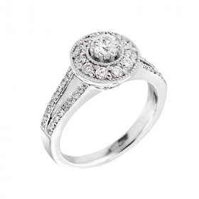 0.25ct Diamond Halo Engagement Ring in 9ct Two-Tone Gold