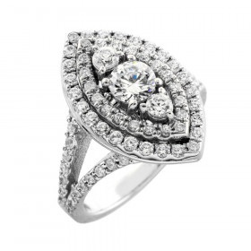 Diamond Halo Engagement Ring in 9ct White Gold