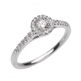 0.15ct Diamond Halo Engagement Ring in 9ct White Gold