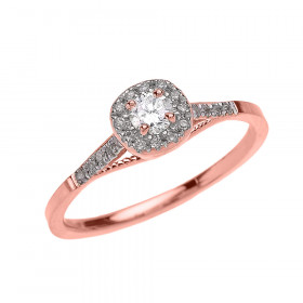 0.25ct Diamond Halo Milgrain Engagement Ring in 9ct Rose Gold