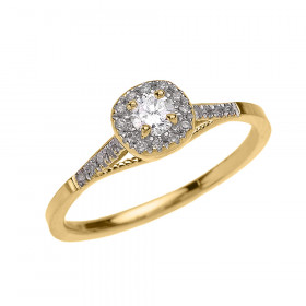 0.25ct Diamond Halo Milgrain Vintage Engagement Ring in 9ct Gold