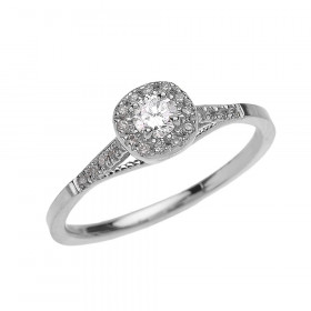 0.25ct Diamond Halo Milgrain Vintage Engagement Ring in 9ct White Gold