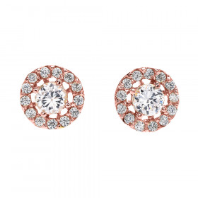 0.45ct Diamond Halo Stud Earrings in 9ct Rose Gold