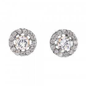 0.45ct Diamond Halo Stud Earrings in 9ct White Gold