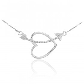 Diamond Heart & Arrow Pendant Necklace in 9ct White Gold