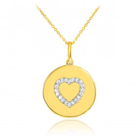 Diamond Heart Disc Pendant Necklace in 9ct Gold