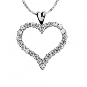 1.0ct Diamond Heart Pendant Necklace in 9ct White Gold