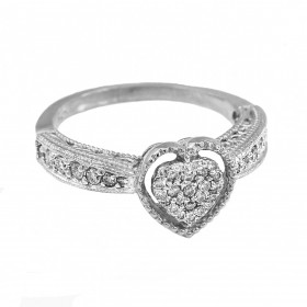 Diamond Heart Ring in 9ct White Gold