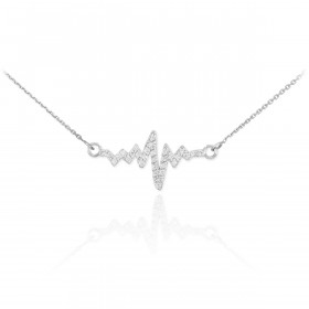 Diamond Heartbeat Pendant Necklace in 9ct White Gold