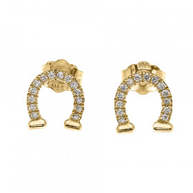 0.12ct Diamond Horseshoe Good Luck Stud Earrings in 9ct Gold