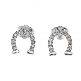 0.12ct Diamond Horseshoe Good Luck Stud Earrings in 9ct White Gold